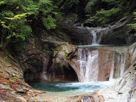 日本の滝百選の「七ツ釜五段の滝」