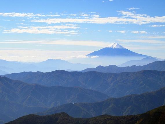 鷹ノ巣山頂上から富士山の展望