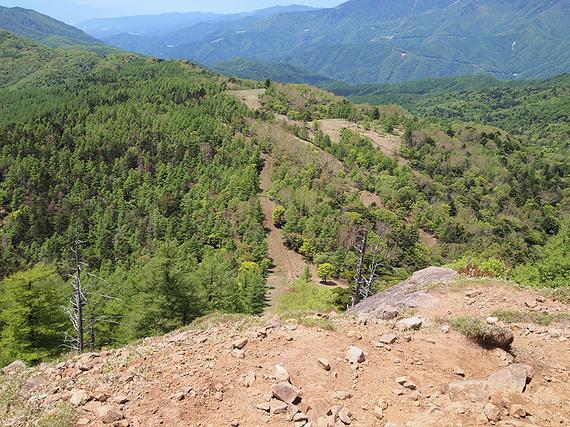 笠取山山頂から望む歩いてきた山道