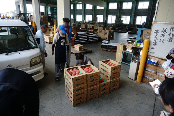 JAフルーツ山梨大藤共選所の完熟桃販売の様子