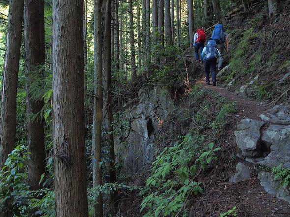 天狗滝から綾滝に向かう山道
