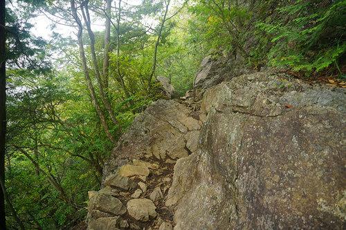 滑落注意の山道