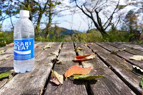 城山と一丁平の間にあるベンチとテーブル